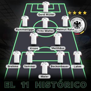 Imagen que representa el mejor once o once histórico de la selección alemana de fútbol. Incluimos los mejores jugadores de Alemania y los más destacados