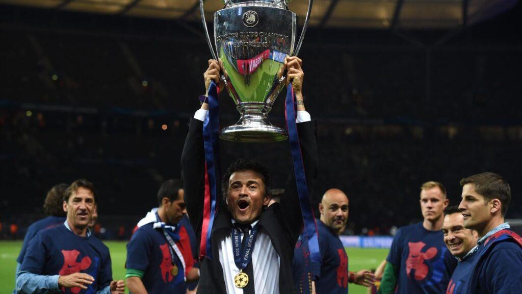 Luis Enrique celebrando la Champions de Berlín en 2015